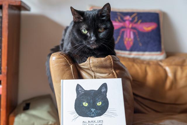 ピーターさんによるミミの味わい深いイラストが表紙を飾る2人の著書『All Black Cats are Not Alike』(Chronicle Books)。「日本語版のオファーがあればいつでも!」と2人