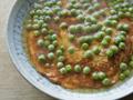 """旬のグリーンピースが主役。新玉ねぎと卵の""""トロふわ""""あんかけ"""