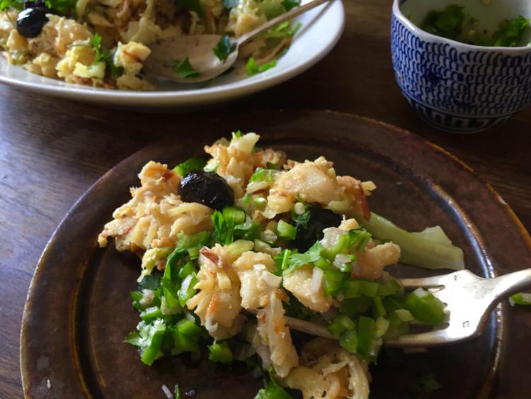 《パリの外国ごはん そのあとで。》ポルトガルのバカリャウでライスグラタンとジャガイモ卵炒め「Don Antonia」
