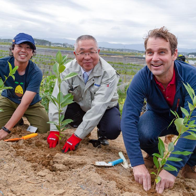 自然派コスメ「ロクシタン」の約束 福島・南相馬に1301本の木を