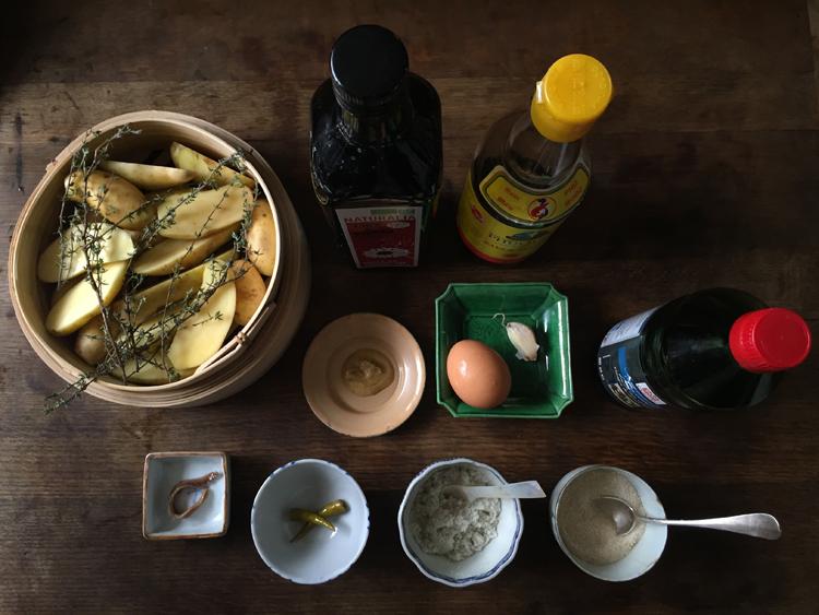 《パリの外国ごはん そのあとで。》室田さんの青唐辛子入り自家製マヨネーズと揚げ焼きじゃがいも/GUMBO YAYA