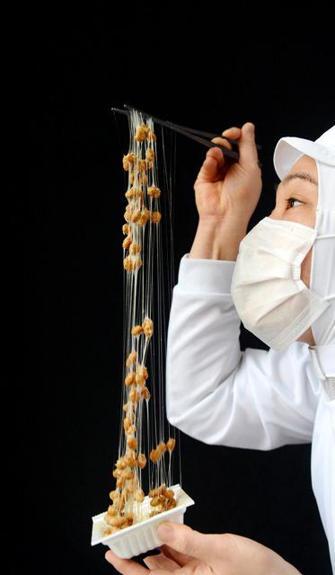 良い熟成を経た納豆の糸は、「クモの糸」のように細いが力強い。かき混ぜてすくい上げると、絡めとられた納豆が宙に舞った=京都市伏見区