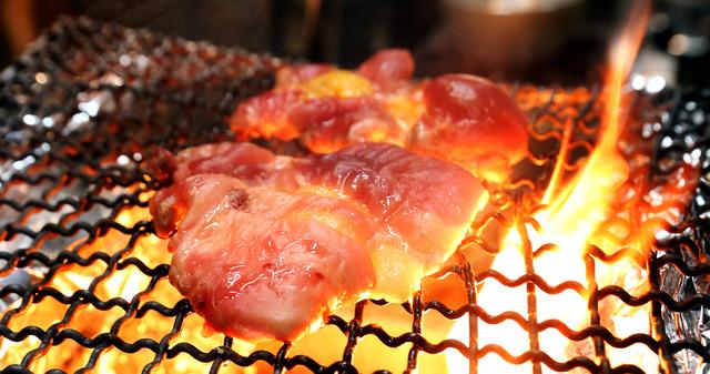 キジ肉を炭火で焼く。落ちた脂が燃え、一瞬炎が広がる=大阪市北区