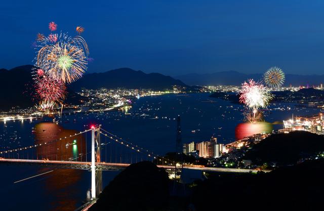 両岸から夜空彩る1万5千発 関門海峡花火大会:朝日新聞デジタル