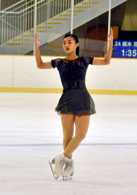 フリーで映画「アメリ」のメロディーに合わせて演技をする坂本花織=尼崎スポーツの森スケート場