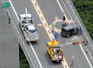京奈和自動車道で4台絡む事故、2...