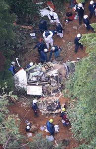 ヘリ墜落、自衛隊員5人が現場で...