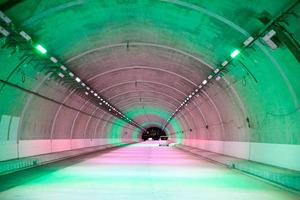 トンネル内、緑のライトで渋滞抑...
