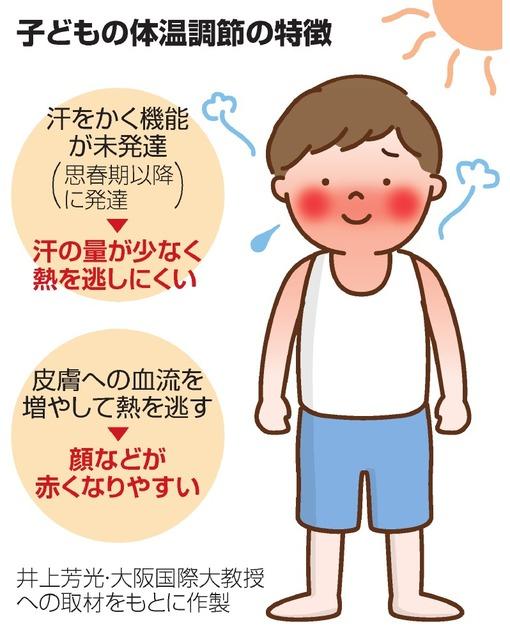 eba336232c6ad 皮膚の温度の上限は約35度といわれ、気温35度を超えると、逆に皮膚から熱を体内へ取り込んでしまう。それでも大人なら、汗をかいて体を冷やせるが、小さな子どもに  ...