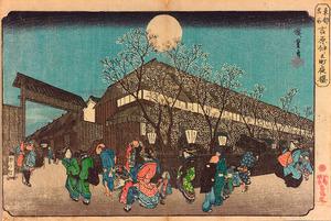 「東都名所 吉原仲之町夜桜」=太田記念美術館蔵