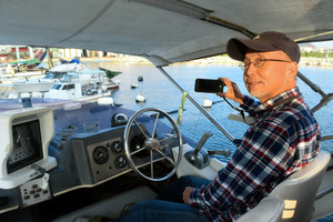 香川)泳ぐイノシシ、船から撮影 男木・直島間で