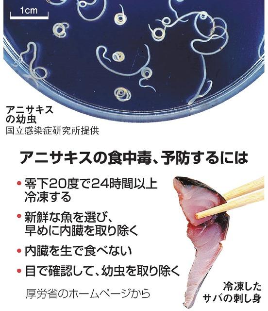 アニサキス、食中毒の予防も大切 冷凍や加熱しっかりと:朝日新聞デジタル