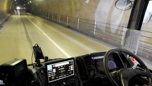 長野)自動運転バス、実験走行中 12キロコース