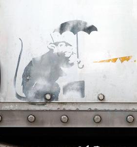 バンクシー、東京に現る? 防潮扉に絵を発見、都が調査