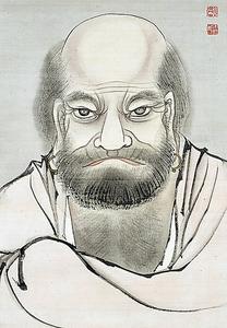 月僊「朱衣達磨図」=部分、制作年不詳、個人蔵