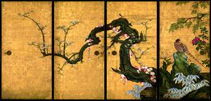 「梅花遊禽図襖」=重要文化財 京都・天球院蔵