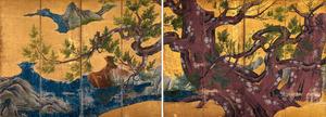 「檜図屏風」=東京国立博物館蔵、国宝