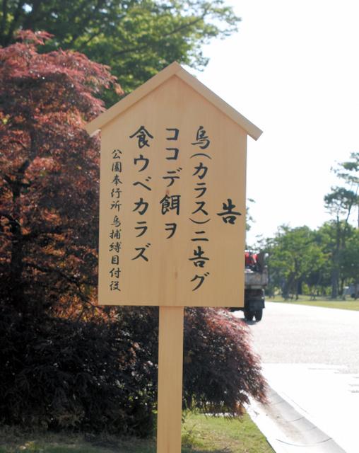 【とり】烏ニ告グ ココデ餌ヲ食ウベカラズ−富山城址公園 ->画像>8枚