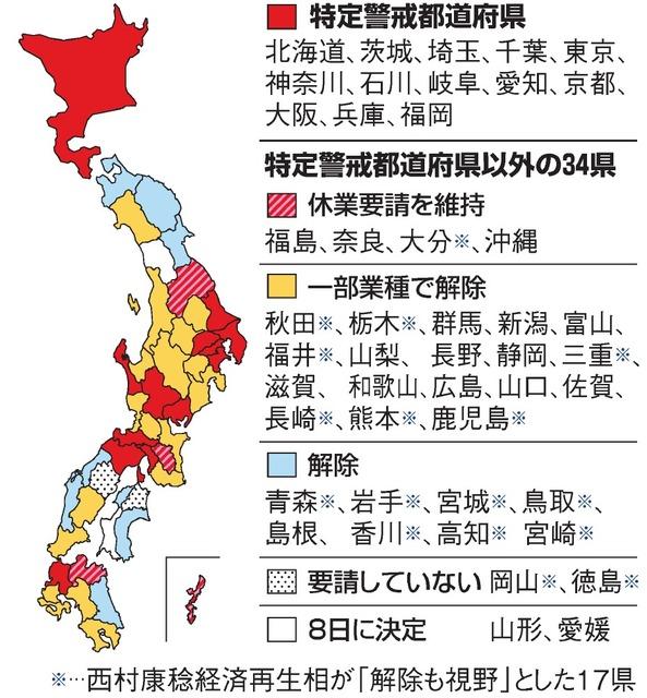 緊急 事態 宣言 解除 県 どこ