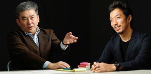 社会学者の西田亮介さん(右)と対談する真山仁さん=山本和生撮影