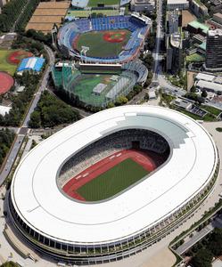 国立競技場(手前)。神宮第二球場をはさんで、神宮球場(奥)がある=2020年6月9日、朝日新聞社ヘリから