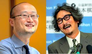 イベントに出演する渡辺明名人(左)と、趙治勲名誉名人