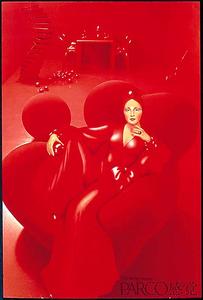 真っ赤なポスターが鮮烈だった「PARCO感覚。」。石岡瑛子さん、山口はるみさん、小池さんの合作。撮影は操上和美さん=パルコ提供