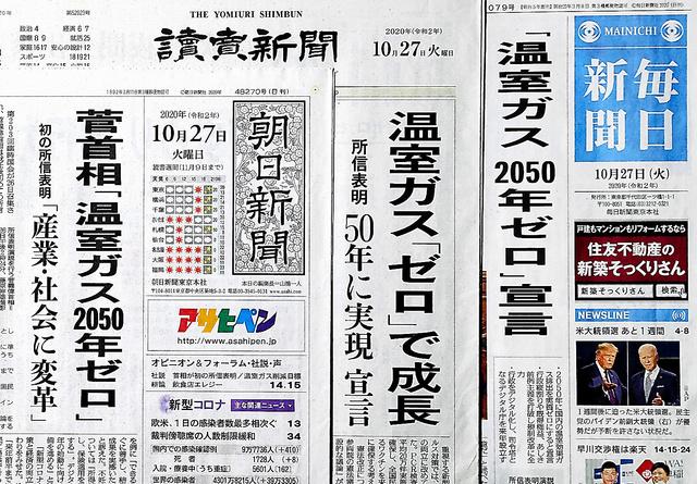 温室効果ガスの排出を2050年までに実質ゼロにする目標を菅首相が表明したことを伝える27日付の各紙