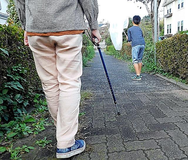 虫取り網を持つ息子の後ろを歩く男性。足の筋力が低下し、外出時は杖が欠かせない=本人提供