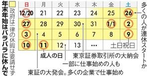 年末年始のカレンダー
