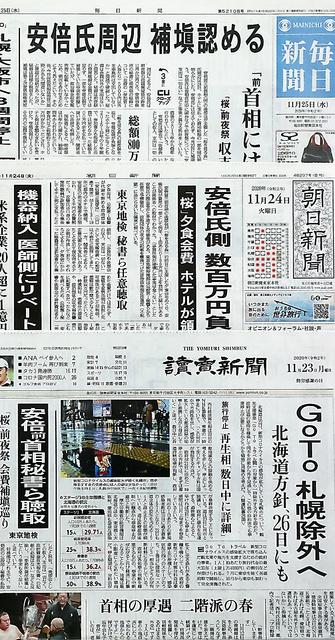 安倍前首相の後援会が主催した夕食会の費用負担をめぐる問題を報じる新聞各紙