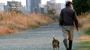 淀川河川敷に暮らすさどヤンと犬のピーちゃん(風楽創作事務所提供)