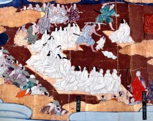 瑞泉寺に伝わる絵巻には、女性や子どもたちが処刑される様子も描かれていた。右下の僧が貞安上人という=2020年11月20日、京都市中京区、吉村駿撮影