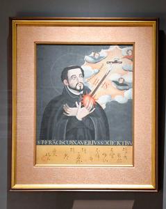 期間限定で展示されていた実物の「聖フランシスコ・ザビエル像」=2020年11月12日、神戸市立博物館、西田有里撮影