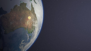 カプセルが豪州上空の大気圏へ再突入するイメージ(ドイツ航空宇宙センター提供)