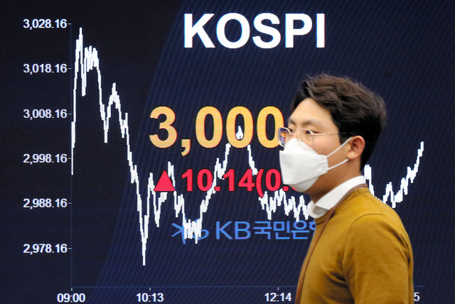 韓国総合株価指数(KOSPI)が史上初めて取引時間中に3000を超えた2021年1月6日、大手銀行のディーリングルームにある電光掲示板に示された「3000」の指数=東亜日報提供