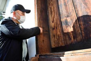 岡山城月見櫓で見つかった傷=2021年1月19日午後3時32分、岡山市北区