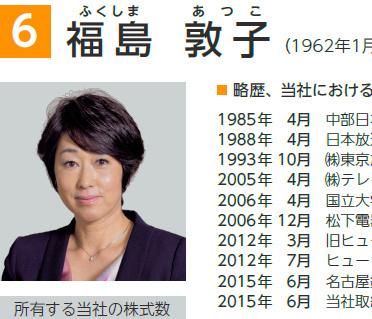 カルビーの昨年6月株主総会招集通知に掲載された福島敦子さん。社外取締役に再任された