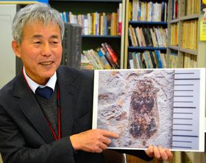 ホタルの拡大パネルを手に説明する群馬県下仁田町自然史館の中村由克館長