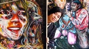 第24回岡本太郎現代芸術賞の最高賞を最年少で受賞した高校3年生の大西茅布さん=大阪市、白井伸洋撮影
