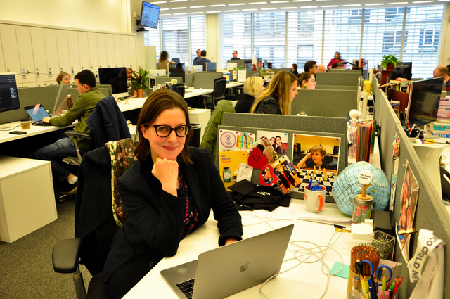 フランチェスカ・ドナーさん=2020年1月、米ニューヨークのニューヨーク・タイムズ本社、望月洋嗣撮影