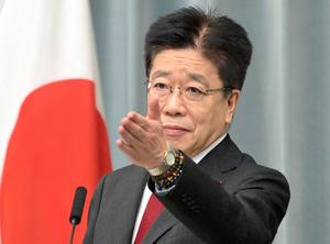 加藤勝信官房長官=2021年2月12日午後4時5分、首相官邸、恵原弘太郎撮影
