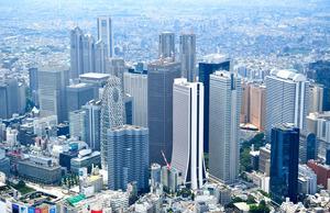 東京都庁などの高層ビル群=東京都新宿区、朝日新聞社ヘリから