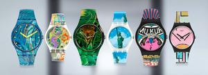 新発売の時計6種。左からゴッホ、クリムト、アンリ・ルソー、横尾さん2種、モンドリアン=MoMA提供