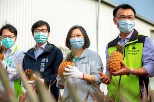 2月28日、パイナップル農家が多い台湾南部・高雄市を訪れ、パインの購入を呼びかけた蔡英文総統(右から2人目)=総統府提供