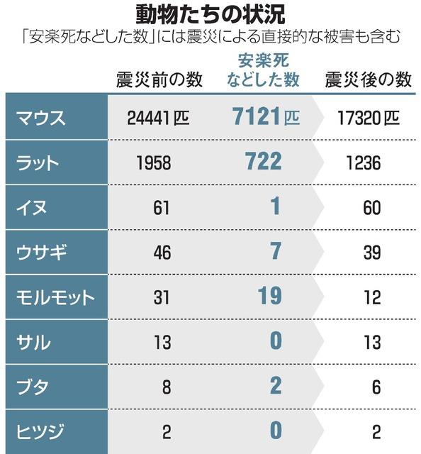 東日本大震災による東北大学大学院医学系研究科付属動物実験施設(仙台市青葉区)の実験動物たちへの影響