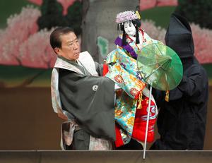 「義経千本桜 道行初音旅」で静御前を遣う吉田簑助さん=2009年4月、国立文楽劇場提供