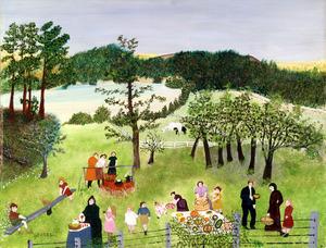 「家族のピクニック」 1951年 個人蔵(ギャラリー・セント・エティエンヌ、ニューヨーク寄託) (C)2021,Grandma Moses Properties Co., NY