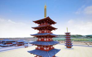 大安寺の東塔と西塔を復元したCG=大安寺提供