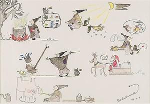 リオさんが描いた魔女の絵。中央上に、ラジオをぶら下げて飛ぶ魔女が描かれている=角野さん提供